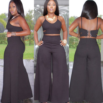 Black Strappy Cropped Top and High Waisted Flared Leg Pants