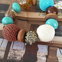 Chunky bubble gum beaded bracelet turquoise and brown