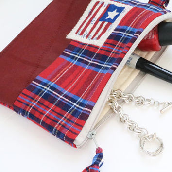 Red Plaid bag Patriotic purse Boho Zipper pouch American flag iPhone bag Coin cash cards zipper wallet Cosmetic makeup accessories eco chic