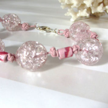 Pink Leather Bracelet Romantic Celtic Button Knots Crackled Glass Beads and Pink Floral Paper Beads