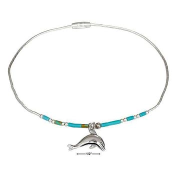 """Sterling Silver Bracelet:  9"""" Liquid Silver & Reconstituted Turquoise Heishi Dolphin Anklet"""