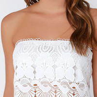 Glamorous Antique Motif Ivory Strapless Lace Top