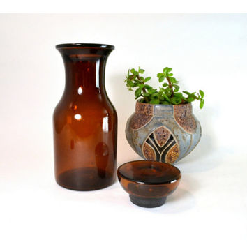 Vintage Glass Bottle // Vintage Brown Glass Pharmacy Container // Apothecary Jar w/ Flat Top Made in Belgium