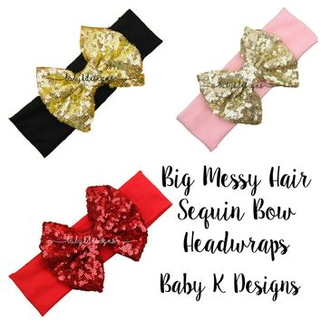 Baby Girl Messy Sequin Sparkle Big Bow Headband | Top Knot Wide Headbands | Gold Red Hot Pink Glitter Bow Head Wrap | Turban Floppy Bows