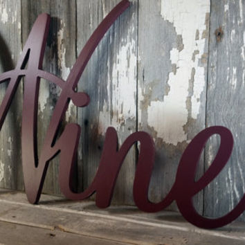 Cursive Wine sign shabby chic plum wall hanging home decor photo prop cottage farmhouse primitive gift aged style personalized