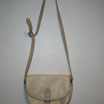 Vintage 80s Crossbody Leather Tan Bag by Liz Claiborne