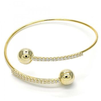 Gold Layered 07.308.0002 Individual Bangle, Ball Design, with White Crystal, Polished Finish, Golden Tone (02 MM Thickness, One size fits all)