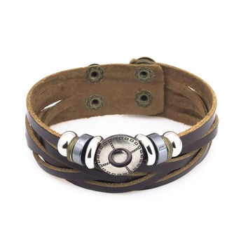 Stainless steel beads brown leather braid bracelet