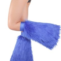 Clubstyle Clothing Blue Fluffies | Quality Fluffy Leg Warmers