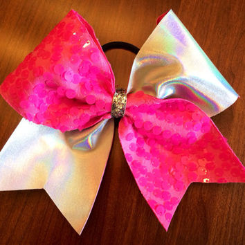 Cheer Bow - Pink Sequin and Holographic Silver