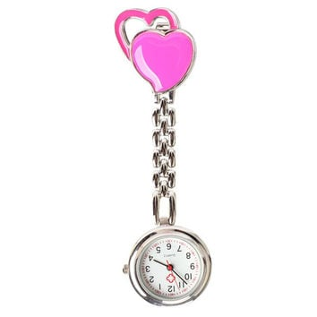 Chest Pocket Watch Nurse Table Sweet Heart Quartz with Clip Vogue Rose Red