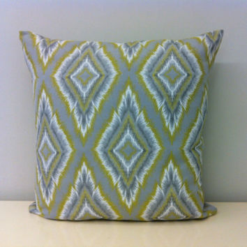 Grey Ikat Pillow Cover, Ikat Pillows, Woven Boho Pillows, Green Pattern Cushion Cover, Rustic Pillow, Ikat Throw Pillows, Boho Pillow Covers