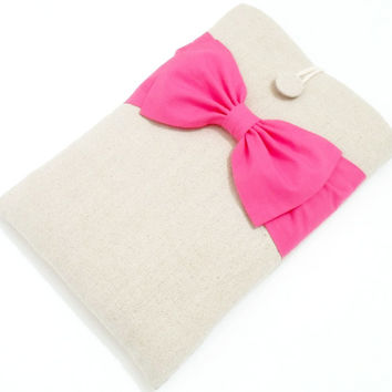 iPad Mini Case, Kindle HD, Kobo, eReader Sleeve, Nexus 7 Padded Cover, Custom Tablet Sleeve - Natural Linen, Hot Pink Double Bow