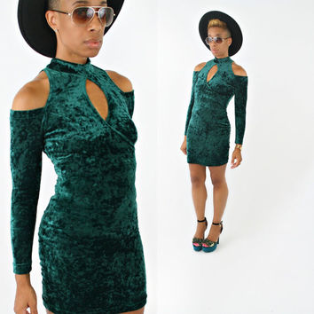 vintage 90s green VELVET cut out BODYCON mini dress size XS/S