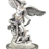 """RELIGIOUS STATUE - FIGURE, A Veronese St. Michael Font in a pewter style finish with golden highlights, can stand or hang, 8""""."""