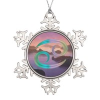 Cancer Colorful Zodiac Sign on Warm Ocean Sunset Snowflake Pewter Christmas Ornament