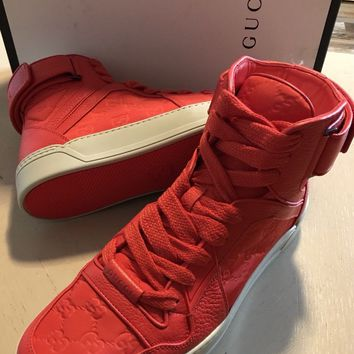 NIB $795 Gucci Men's Guccissima Dusk Red Sneakers Boots 10G ( 10.5 US ) 409766