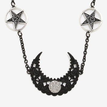 BlackCraft Crescent Moon & Baphomet Head Chain Hot Topic Exclusive