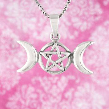 Triple Moon Goddess Pentacle Necklace