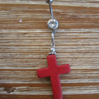 Belly Button Ring - Body Jewelry - Red Cross with Clear Gem Belly Button Ring