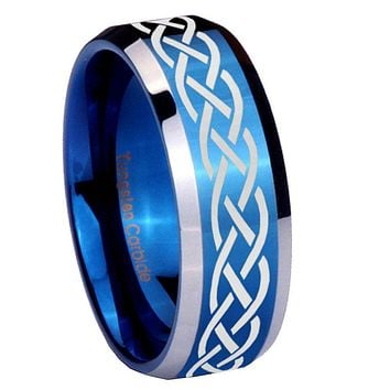 8mm Celtic Knot Beveled Edges Blue 2 Tone Tungsten Mens Ring Engraved