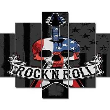 Retro Guitar and Skull Feature Painting on Canvas American Flag USA Artwork Black White Home Wall Decor Patriotic Concept 5 Panel Giclee for Living Room Stretched Framed Varying Size(50''W x 24''H)