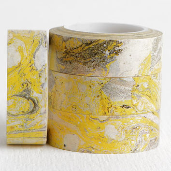 Yellow Black and White Marble Washi, Stone Pattern Natural Geophysical Scientist Earthy Washi 15mm