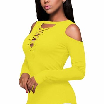 Yellow Long Sleeve Cut-out Shoulder Ribbed Top
