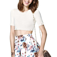White Floral Pleated Mini Skirt