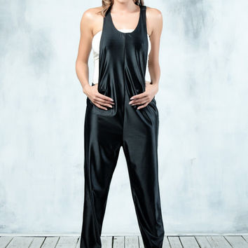 Womens Jumpsuit, Womens Overall, Black Jumpsuit, Womens Romper, Harem Jumpsuit, Black Bodysuit, Womens Bodysuit, Loose Jumpsuit