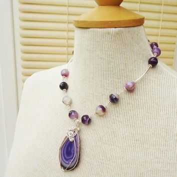Agate Necklace, Agate Wire Wrapped Pendant, Purple Agate Necklace with Wire Wrapped Pendant