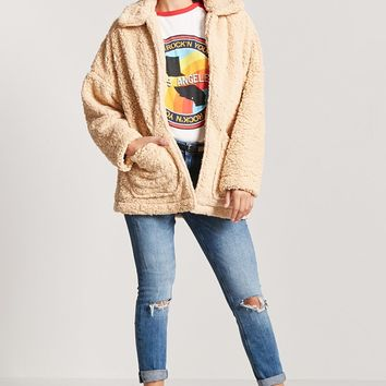 Open-Front Faux Shearling Coat