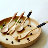 Wooden Log Coffee Fork and Spoon Set (2pcs)