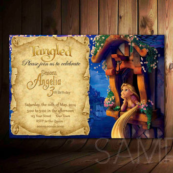 Disney's Tangled Rapunzel Invitation - Tangled Party Custom Personalized Digital File Princess Rapunzel