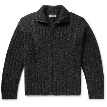 Cable-Knit Mélange Cashmere, Wool and Mohair-Blend Zip-Up Cardigan