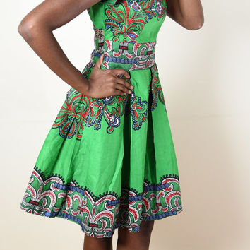 BUTTERFLY Green Dress - African Print Handmade
