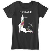 Exhale unicorn awesome women's ladies t-shirt