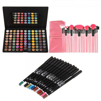 Big Discount 88 Color Eyeshadow Palette + 24pcs Cosmetic Makeup Brush Set + 12 Colors Eyeliner Eye Shadow Pen Gift + Free Shipping