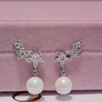 Lovely flower and pearl 925 Sterling Silver zircon earrings , perfect gift