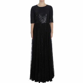 Dolce & Gabbana Black Floral Lace Sequined Maxi Dress