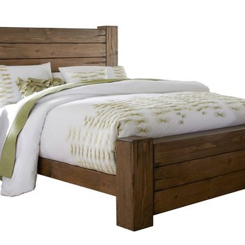 Maverick Rustic King Panel Complete Bed Driftwood