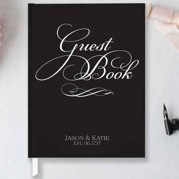 Personalized Wedding Guest Book, Classic Hardcover Guest Book GB105