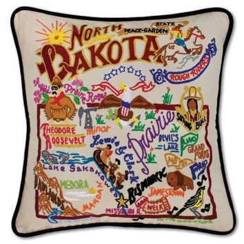 North Dakota Hand Embroidered Pillow