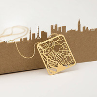 Tokyo Map Necklace – Street Map of Tokyo Pendant Necklace in Gold or Silver