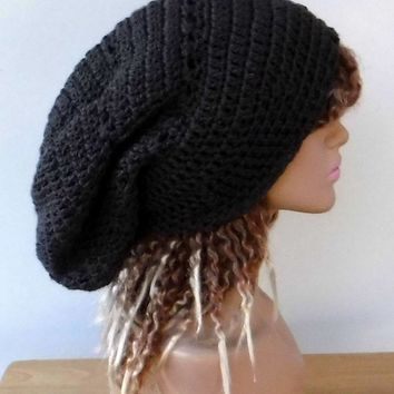 Graphite grey slouchy large Tam Dreadlock Hippie Beanie Dread Hat handmade crochet unisex