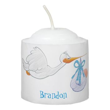 Stork Baby Shower Blue Bow Votive Candle