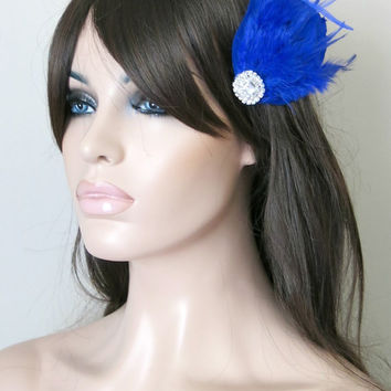 Bridal Wedding Bridesmaid Feather Hair Accessory, Feather Fascinator, Bridal Hair Piece, Royal Blue, Blue Feather, Hair Clip