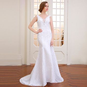 very beautiful mermaid  wedding dress backless robe ball gowns