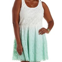 Plus Size White Combo Dip-Dye Lace Skater Dress by Charlotte Russe