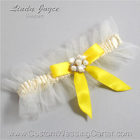 "Ivory and Yellow Tulle Wedding Garter Bridal ""Natalie"" Silver 871 Ivory 645 Sunglow Bright Yellow Prom Luxury Garter Plus Size & Queen Size"